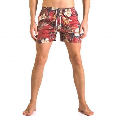 Мъжки червени бански тип шорти на цветя ca050416-21 2