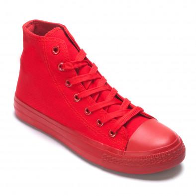 Мъжки високи кецове червени от плат it190516-1 3