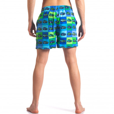 Синьо-зелени мъжки бански с принт колички it260416-43 3