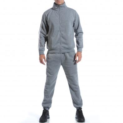 Мъжки светло сив спортен комплект с бели ленти it160817-72 2