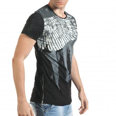 Мъжка черна тениска с як принт и странични ципове tsf140416-5 4