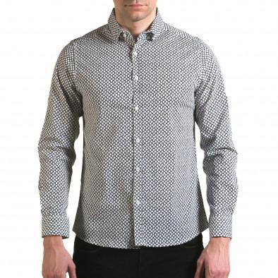 Мъжка бяла риза със синя фигурална шарка il170216-100 2