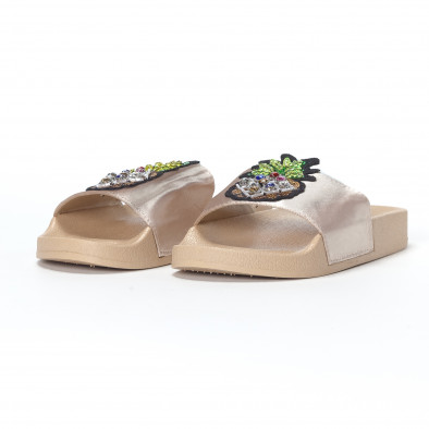 Бежови дамски чехли с ананас it230418-37 3