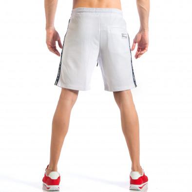 Мъжки бели шорти с апликация на крачола it110418-22 4