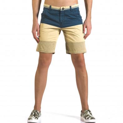 Мъжки бежови къси панталони със синя горна част TMK 5