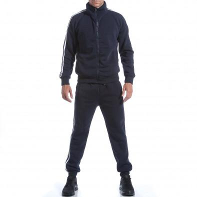 Мъжки син спортен комплект с бели ленти it160817-74 2
