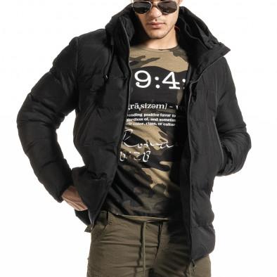 Мъжко черно пухено яке с качулка it301020-10 2