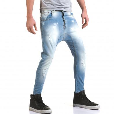 Мъжки светло сини дънки с декоративни прокъсвания it090216-32 4