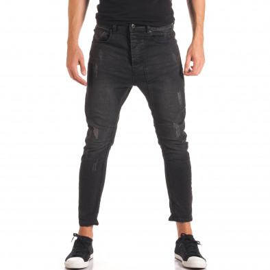 Мъжки тъмно сиви дънки със смъкнато дъно it150816-31 2