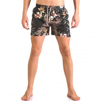 Черен мъжки бански шорти на цветя Yaliishi 5