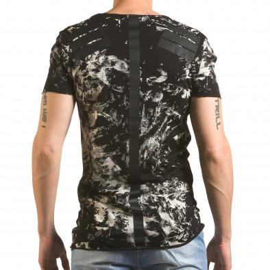 Мъжка черна тениска удължена с як принт tsf060416-2 3