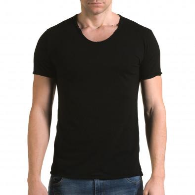 Мъжка черна тениска изчистен модел it090216-78 2