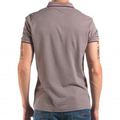 Мъжка сива тениска с яка с червен и бял кант it150616-33 3