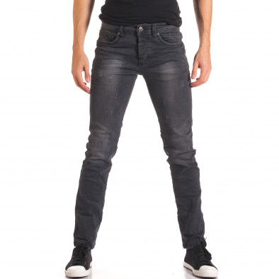 Мъжки тъмно сиви дънки изчистен модел it150816-23 2
