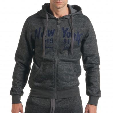 Мъжки сив спортен комплект с надпис New York it210916-2 4