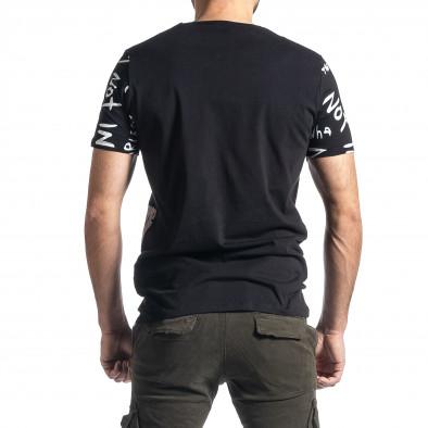 Мъжка черна тениска с принт tr010221-13 3