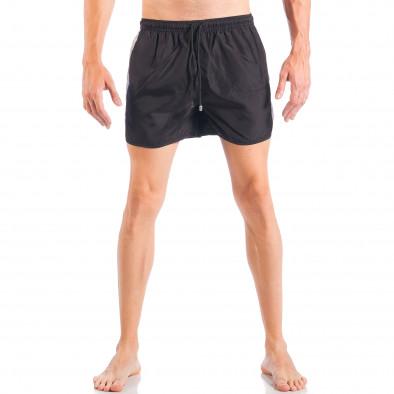 Мъжки черен бански с двуцветна лента it050618-64 3