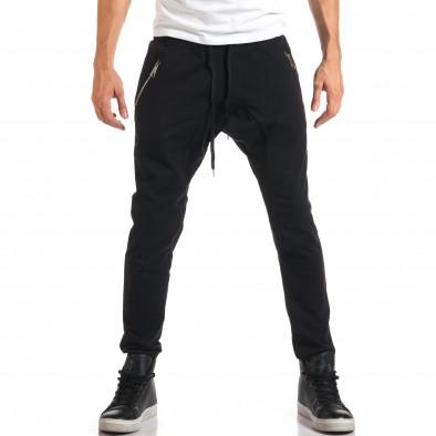 Мъжки черни потури със сребристи ципове it160916-48 2