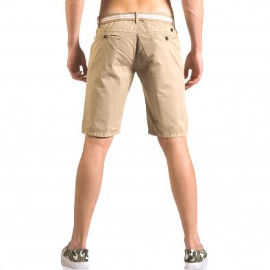Мъжки бежов къс панталон с текстилен колан ca050416-66 3