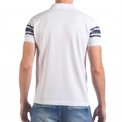 Мъжка бяла тениска с яка със син номер 79 il060616-104 3