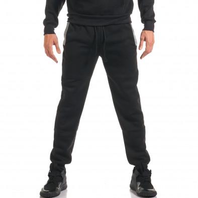 Мъжки черен спортен комплект с 2 ленти отпред it160916-84 5