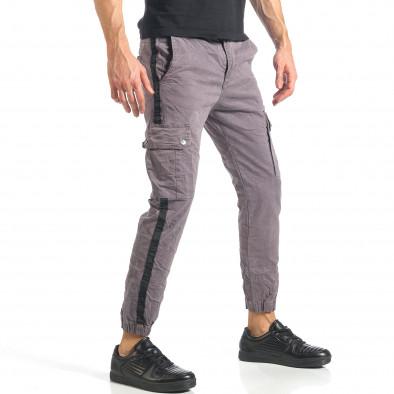 Мъжки сив карго панталон с ленти отстрани it290118-12 4