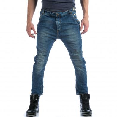 Мъжки сини дънки с много смъкнато дъно  it101114-11 2