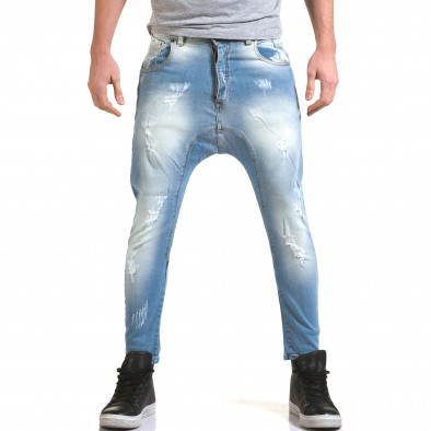 Мъжки светло сини дънки с декоративни прокъсвания it090216-32 2