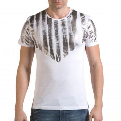 Мъжка бяла тениска със сребрист принт il170216-50 2