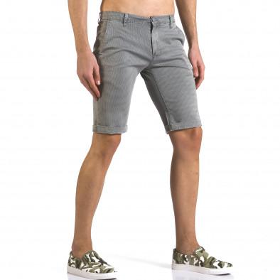 Мъжки сиви къси панталони с фин принт по плата it110316-50 4