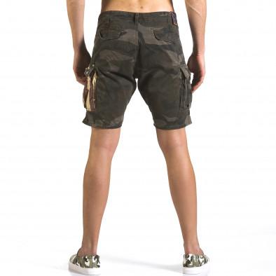 Мъжки къси панталони тъмно зелен камуфлаж it110316-55 3