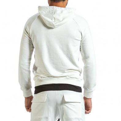 Мъжки бял суичър с качулка и контраст tr070921-35 4