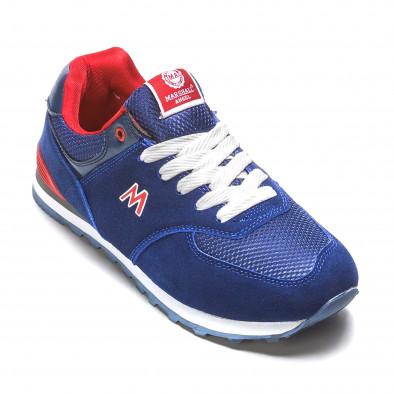 Мъжки сини маратонки с червени детайли it110316-102 3