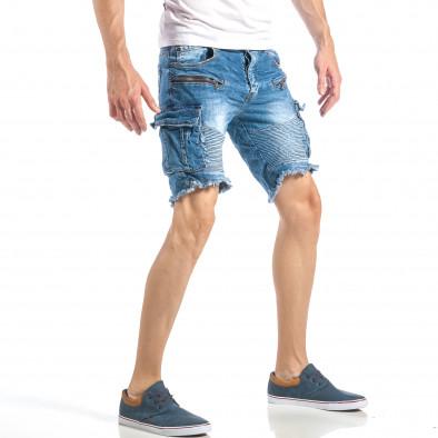 Мъжки рокерски къси дънки в синьо с карго джобове it040518-71 4