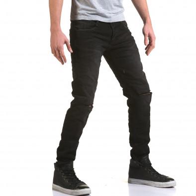 Мъжки черни дънки с прокъсвания на коленете it090216-23 4