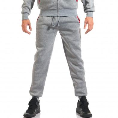 Мъжки сив спортен комплект с червена и черна лента it160916-66 5