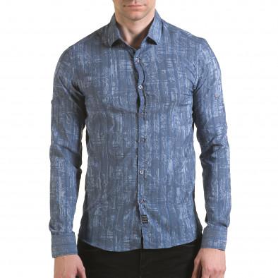 Мъжка синьо-сива риза с фигурална шарка il170216-125 2