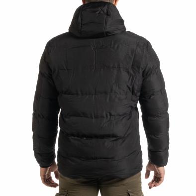 Мъжко черно пухено яке с качулка it301020-10 4