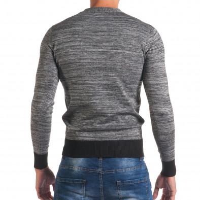 Мъжки сив пуловер с остро деколте it170816-11 3
