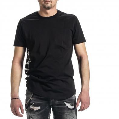 Мъжка черна тениска страничен принт tr270221-50 3
