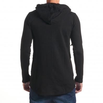 Черен мъжки суичър удължен модел it240816-46 3