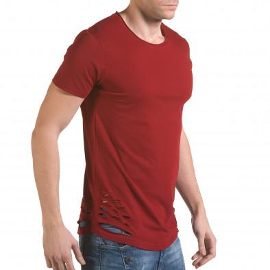 Мъжка червена тениска с декоративни скъсвания il170216-61 4