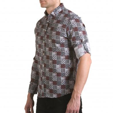 Мъжка червено-сива риза il170216-102 4