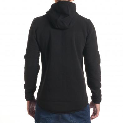 Мъжки черен суичър изчистен модел it240816-23 3