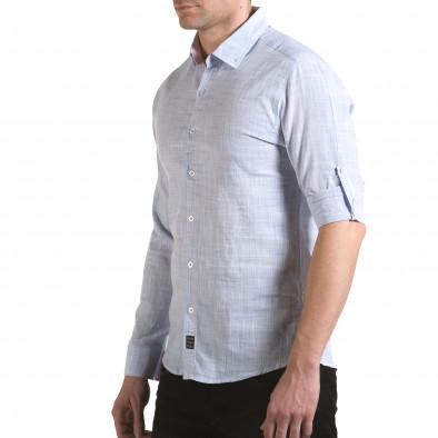 Мъжка синя риза изчистен модел Buqra 5
