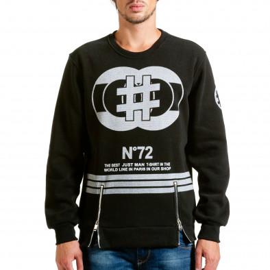 Мъжка черна блуза с декоративни ципове hn240815-57 2
