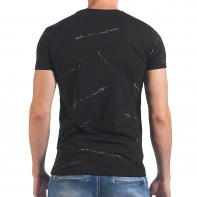 Мъжка черна тениска с бял принт отпред il060616-84 3