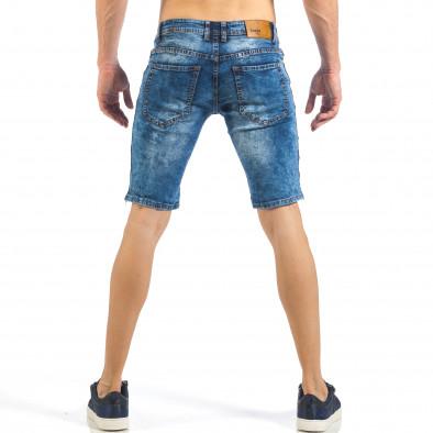 Мъжки тъмно сини къси дънки с трицветни кантове it260318-116 4