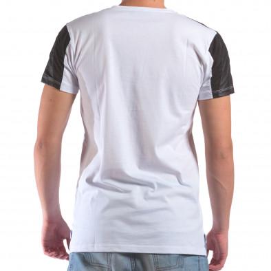 Мъжка бяла тениска с геометричен принт il210616-19 3