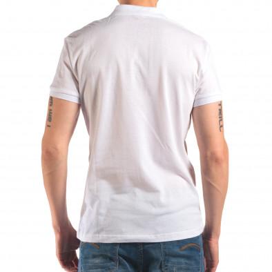 Мъжка бяла тениска с яка изчистен модел it150616-39 3